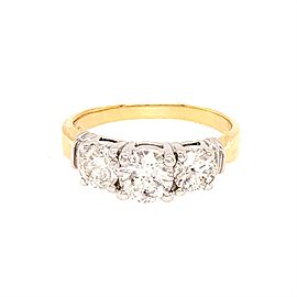 14k Multi-tone Gold 3 Stones Diamond Ring