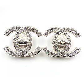 Chanel Silver-Tone Metal & Crystal Turnlock CC Clip-On Earrings