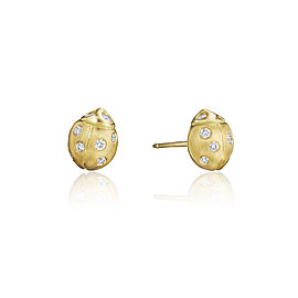 18K Gold Small Wonderland Ladybug Diamond Stud Earrings