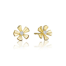 18K Gold Wonderland Small Pow Orchid Stud Earrings