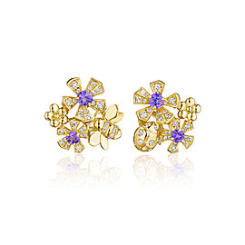 18K Gold Wonderland Pow Orchid Stud Earrings
