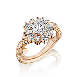 18K Gold Wonderland White Sapphire Flower Ballerina Ring