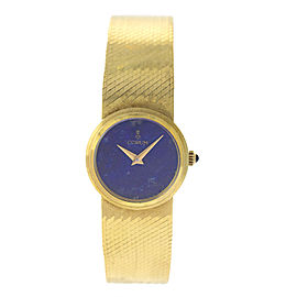 Corum COR7 18K Yellow Gold Lapis Lazuli Dial Integrated Bracelet Womens Watch