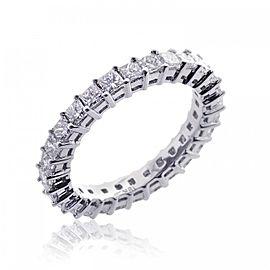 18K White Gold & Princess Diamond Cut Eternity Wedding Band