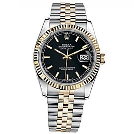 Rolex Datejust 36 Steel & Yellow Gold Jubilee Bracelet Watch Black Dial 116233
