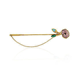 Gucci 18K Yellow Gold and Enamel Flower Stick Brooch