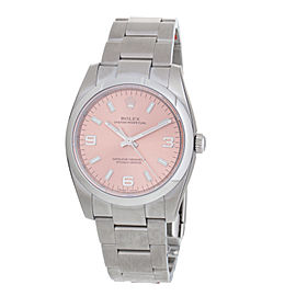 Rolex 114200PASO Oyster Perpetual Pink Arabic Numeral Index Dial Domed Bezel Stainless Steel Men's Watch