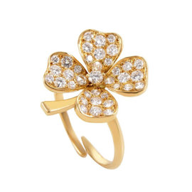 Fred of Paris 18k Yellow Gold 1.00 Ct Diamond 4-Leaf Clover Ring Adjustable Size 5 - 9