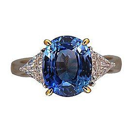 Vintage 18K White and Yellow Gold 4.50ct Cornflower Sapphire & 0.72ct Diamond Ring Size 6.5