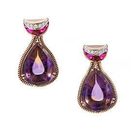14K Rose Gold 54.00cts Amethyst Citrine & 2.00cts Synthetic Ruby Dangle Earrings