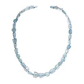 14K White Gold Aqua Crystal Necklace