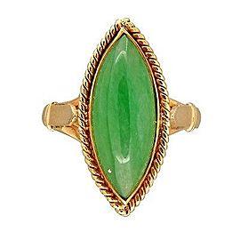 Vintage 14K Pink Gold Green Jadeite Jade Ring Size 7.25
