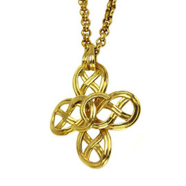 Chanel CC Gold Tone Metal Coco Mark Necklace