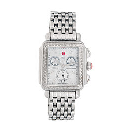 Michele Womens Stainless Steel MW06P01A1046 Deco Diamond-Accented Watch