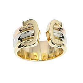 Cartier Trinity 18K Yellow, Rose & White Gold Double C2 Ring 5.5