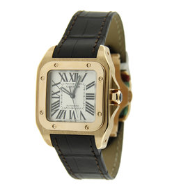Cartier Santos 18K RG Chocolate Strap 34mm Watch