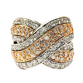 18K White & Rose Gold Diamond Crossover Ring