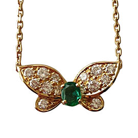 Van Cleef & Arpels 18k Yellow Gold Diamond Emerald Butterfly Necklace
