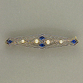 14k Yellow Gold Platinum Yogo Montana Deco Sapphire Pearl Cultured Vintage Pin