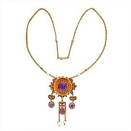 14K Yellow Gold with Amethyst & Freshwater Pearl Pendant Dangle Vintage Cable Link Chain Necklace