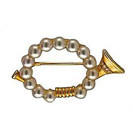 Mikimoto 18K Yellow Gold Cultured Pearl, Diamond Brooch