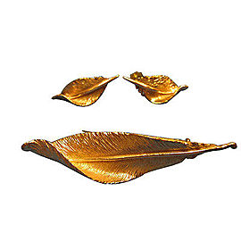 Vintage 14K Pink and Yellow Gold Feather Pin & Earrings Set