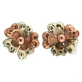 Vintage Art Deco with Rose and White Gold Flower Earrings