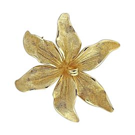 Tiffany & Co. 14K Yellow Gold 3D Textured Flower Vintage Pin Brooch