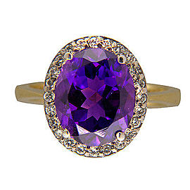 14K Yellow Gold with 4.50ct Amethyst & 0.25ct Diamond Ring Size 8