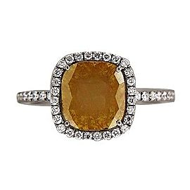 Vintage 14K White Gold with 1.83ct. Brown Diamond & 0.25ct. Diamonds Ring Size 6.5