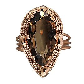 Vintage 14K Rose Gold & 7.00ct Pear Shaped Smoky Quartz Ring Size 7.75