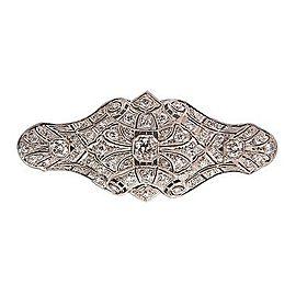 Vintage Edwardian Art Deco Domed Platinum Old European Cut Diamond Pin