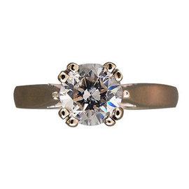 Vintage 14k White Gold 1.40ct Diamond Womens Ring Size 6.75