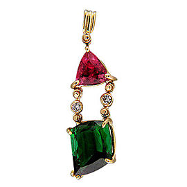 18K Yellow Gold Pink & Green Tourmaline Vintage Full Cut Diamond Pendant