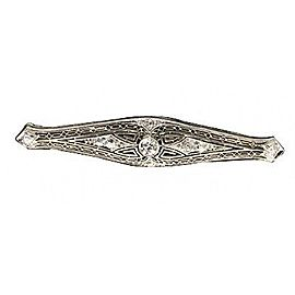 Platinum Filigree 1920s Old European Cut Diamond Pin