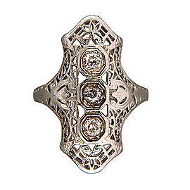 Art Deco 18K White Gold 0.06ct Diamond Ring Size 5.25