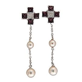 Giorgio Visconti 18K White Gold Garnet Diamond & Pearl Earrings