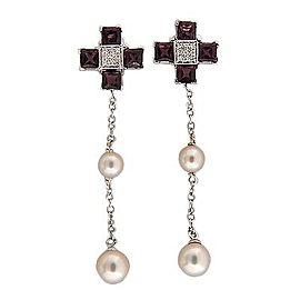 Giorgio Visconti 18K White Gold Garnet Diamond & Pearl Earrings