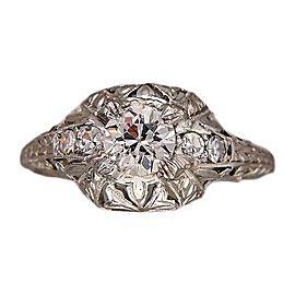 Vintage Art Deco Edwardian Platinum with .46ct Old European Diamond Engagement Ring Size 6