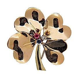 Tiffany & Co. 14K Yellow Gold with 0.06ct. Diamond Sapphire and Ruby Four Leaf Clover Pin Brooch