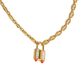 Louis Vuitton Lock Me Strass Gold Tone Hardware Swarovski Crystal Necklace