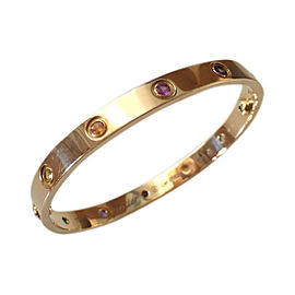 Cartier Love 18K Yellow Gold with Muliple Gemstones Bracelet Size 17