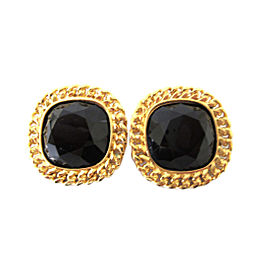Celine Gold Tone Hardware with Black Onyx Cabouchon Clip On Earrings