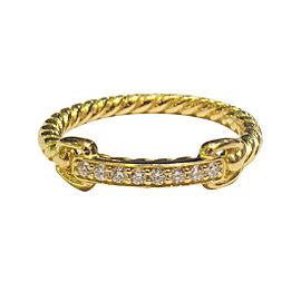David Yurman Petite Pavé Diamonds 18k Yellow Gold Ring Size 7