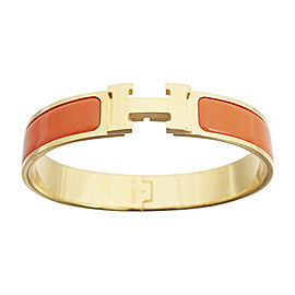 Hermes Gold Tone Metal And Enamel Click Clack Bangle Bracelet