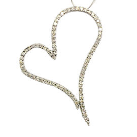 Diamond Heart Shaped Paved Pendant 2.02 Carats In 14k White Gold