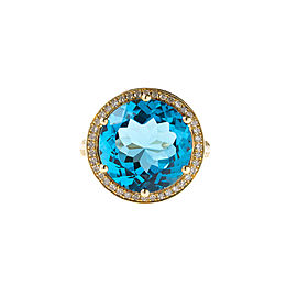 14k Yellow Gold Diamond and Swiss Blue Topaz Ring