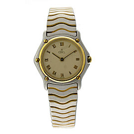 Ebel Wave EBL5 Two Tone 18K Yellow Gold & Stainless Steel Womens Watch