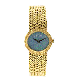 Corum 18K Yellow Gold Opal Dial Vintage Womens Watch