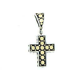 John Hardy 18k Gold Sterling Dot Cross Pendant